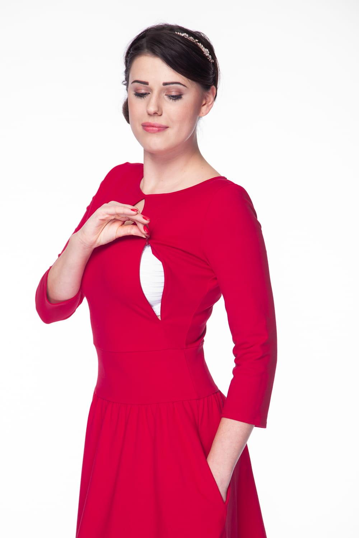 3bc4ab9c4779 Sukienka do karmienia Milk Drop rękaw 7 8 karminowa czerwień Milk ...