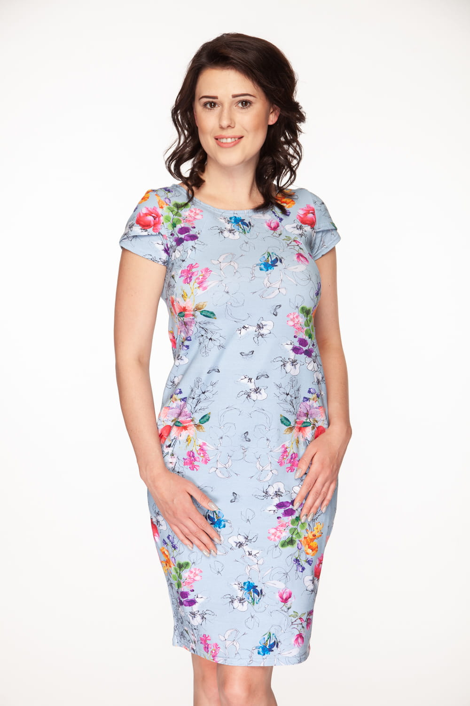 2011fca3b3 ... Sukienka do karmienia i ciążowa Milky Way błękitno-szara w kwiaty ...