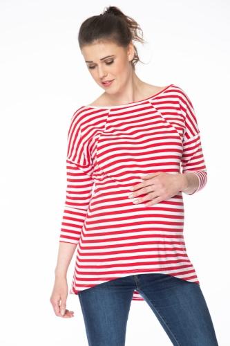 5995417d Bluzka/tunika ciążowa i do karmienia Mommy w czerwono-białe paski