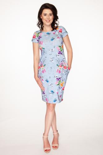 07fb70389 Sukienka do karmienia i ciążowa Milky Way błękitna w kwiaty Milk and ...